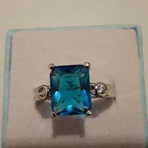 Blue topaz gemstone ring size 7 brand new